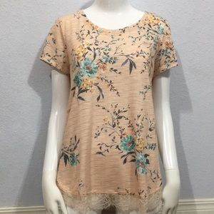 Lauren Conrad Dusty Pink Floral Blouse With Bow M